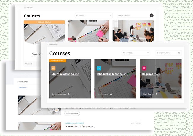 Course List templates available in Thrive Apprentice