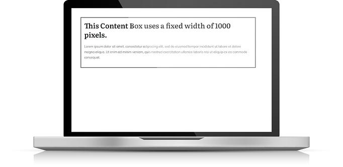 Fixed width content box desktop