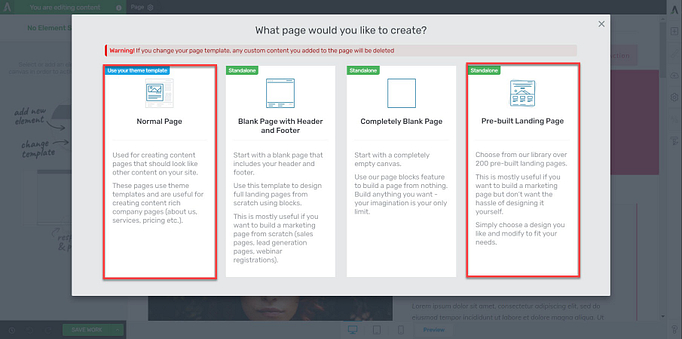 thrive themes page options