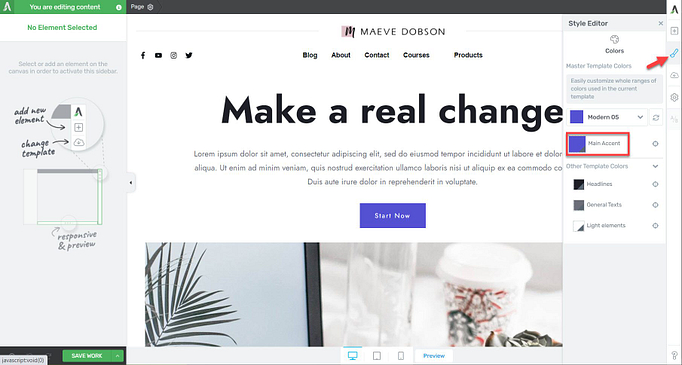 change main accent color in a landing page