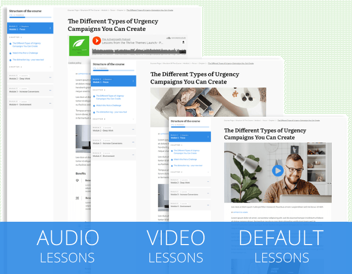 Apply different lesson templates for video, audio and text lessons