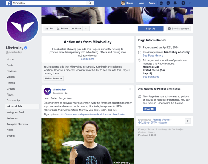 Discover running Facebook ads