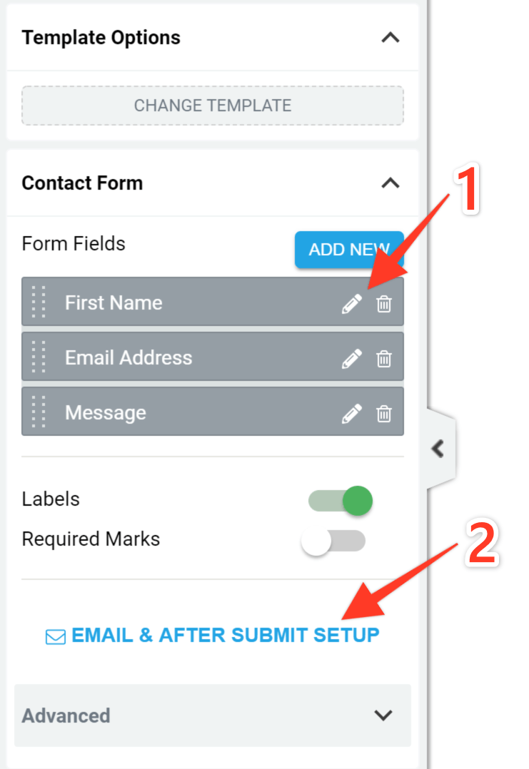 Screenshot of the Thrive Architect contact form settings