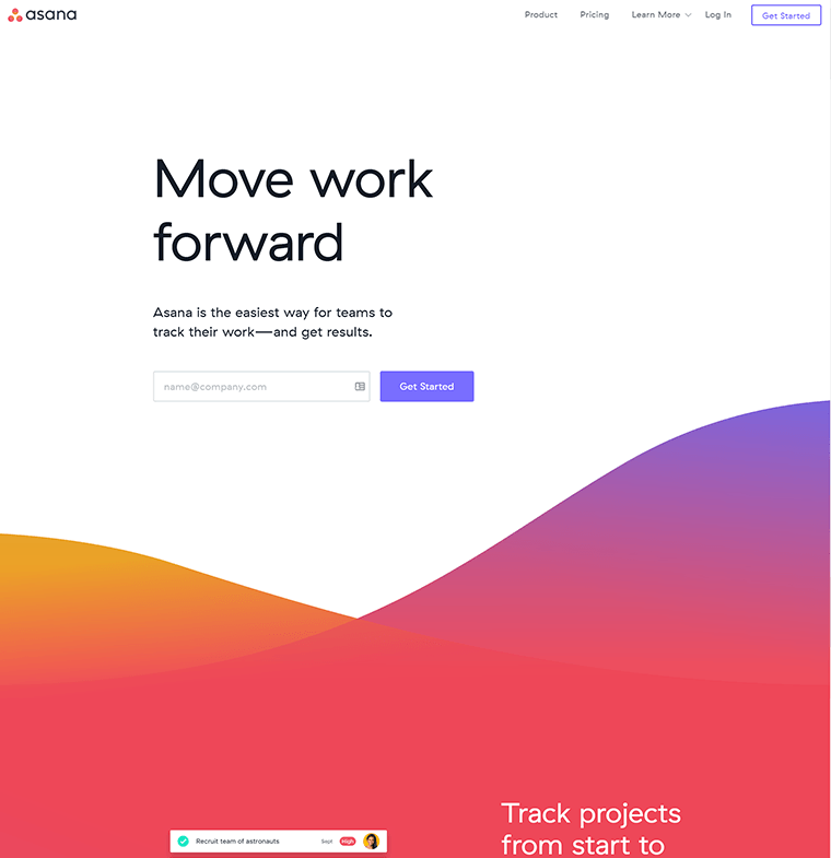 curved dividers and bold gradients on the Asana homepage