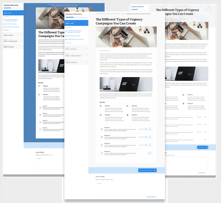 Lesson page templates on Thrive Apprentice