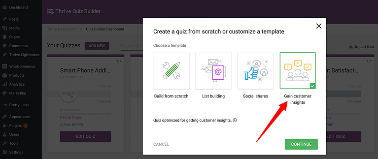 """Choose the """"Gain Customer Insights"""" option when building a survey in Thrive Quiz Builder"""