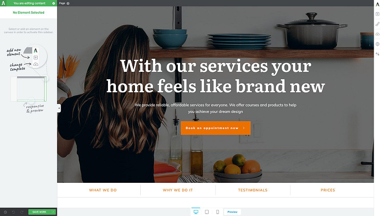 "The ""Homepage – Local Business"" homepage template"