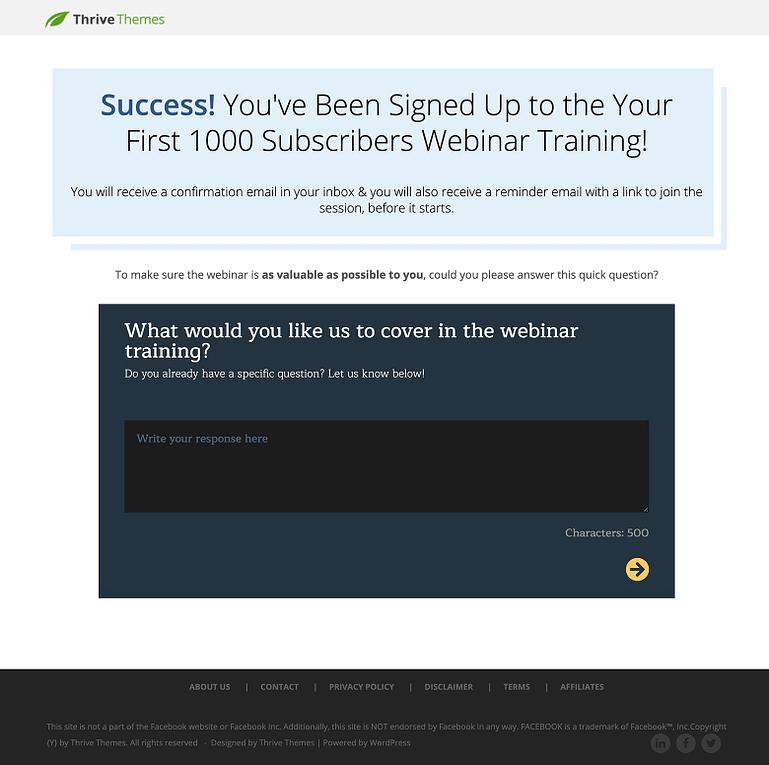Webinar Confirmation Page Survey