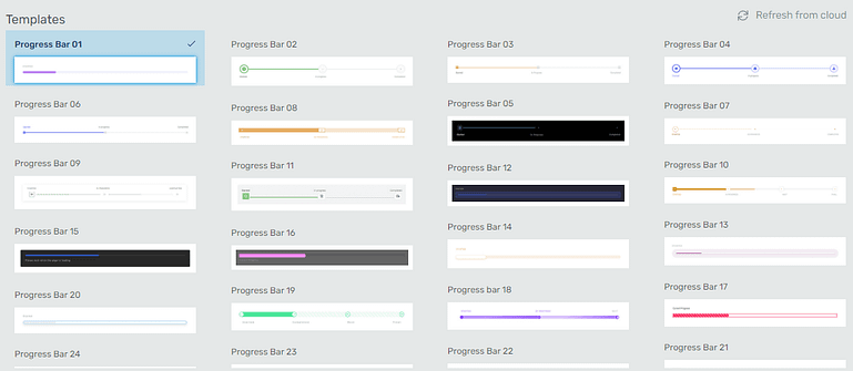 Professional template designs available for the WordPress progress bar