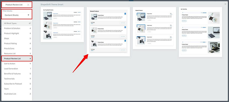 3 ways to filter templates in the Block element template library