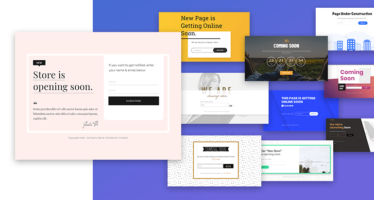 Coming Soon Landing Page Sets in the Gallery