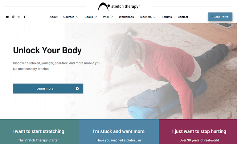 Stretch Therapy fitness website