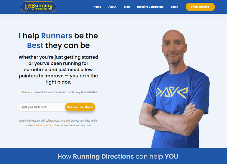 Running Directions homepage