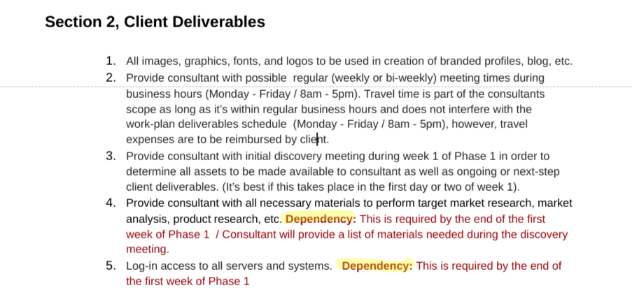 freelance contract client deliverables example