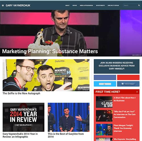 Gary Vaynerchuk's homepage in 2015