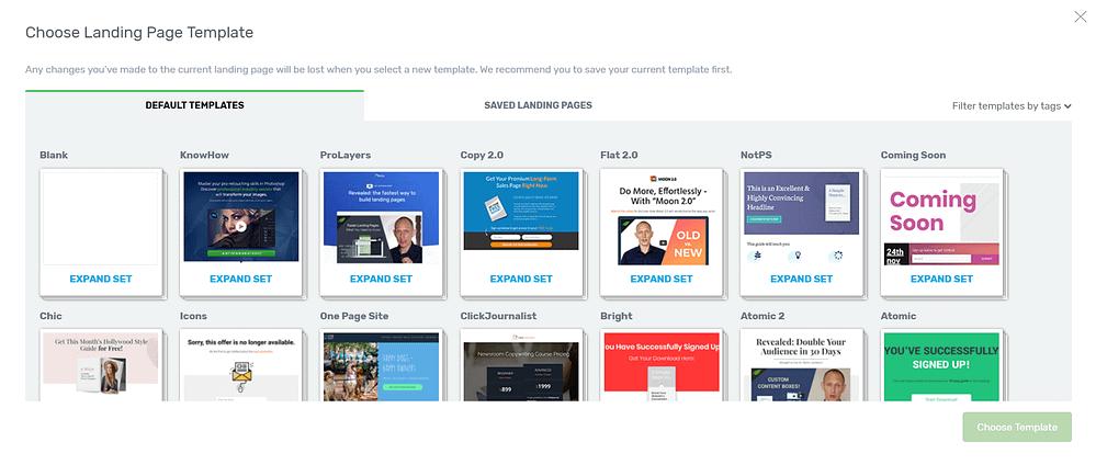 select a landing page