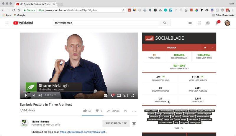 SocialBlade extension