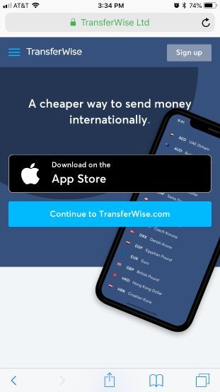 Transferwise homepage good example