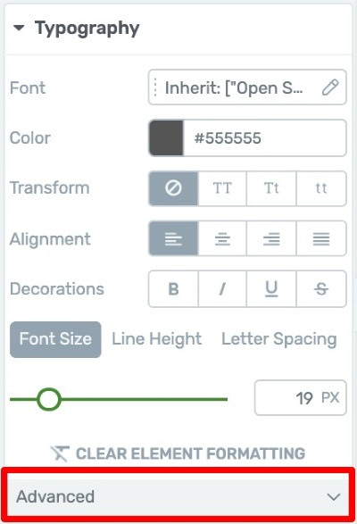 Advanced Typography Tab Dropdown Menu