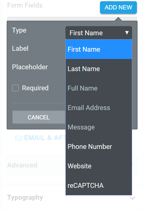 Input field choices in the contact form including First Name, Last Name, Full Name, Email Address, Message, Phone Number, Website and Captcha