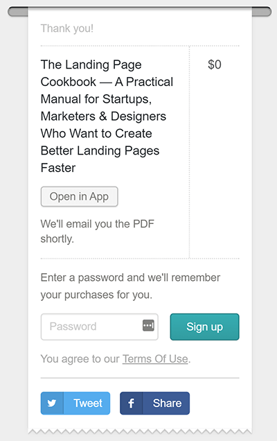 GumRoad Post Payment Page