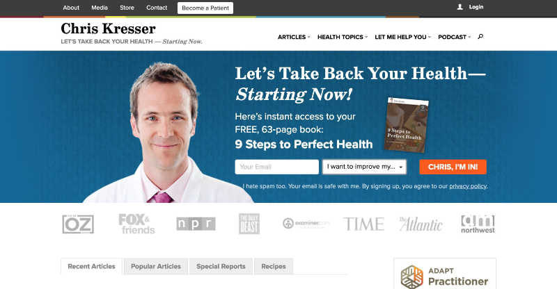 Chris Kressor old homepage and above-the-fold lead generation form