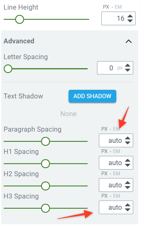 Advanced typography settings in a container