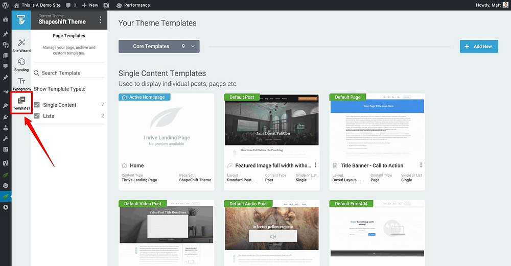 Thrive Theme Builder Templates Dashboard