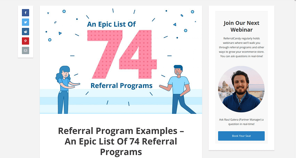 Call-to-action examples ReferralCandy