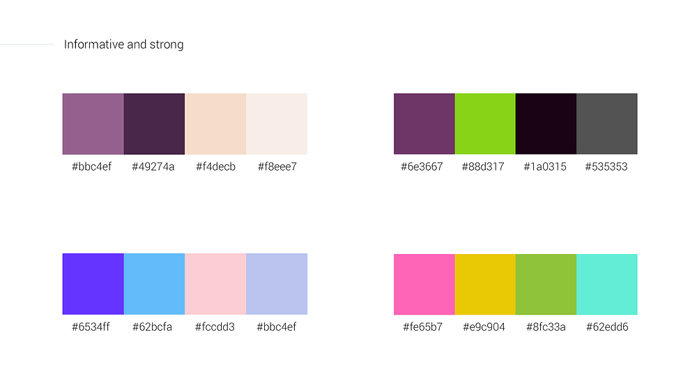 Informative and strong color palettes