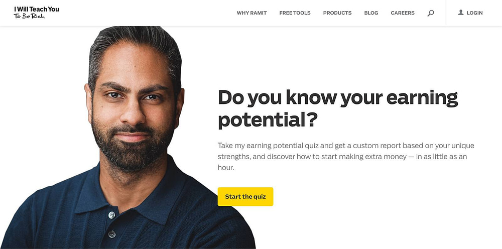 """Ramit Sethi's """"I Will Teach You To Be Rich"""" homepage quiz"""