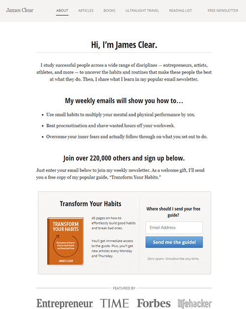 James Clear's homepage in 2016