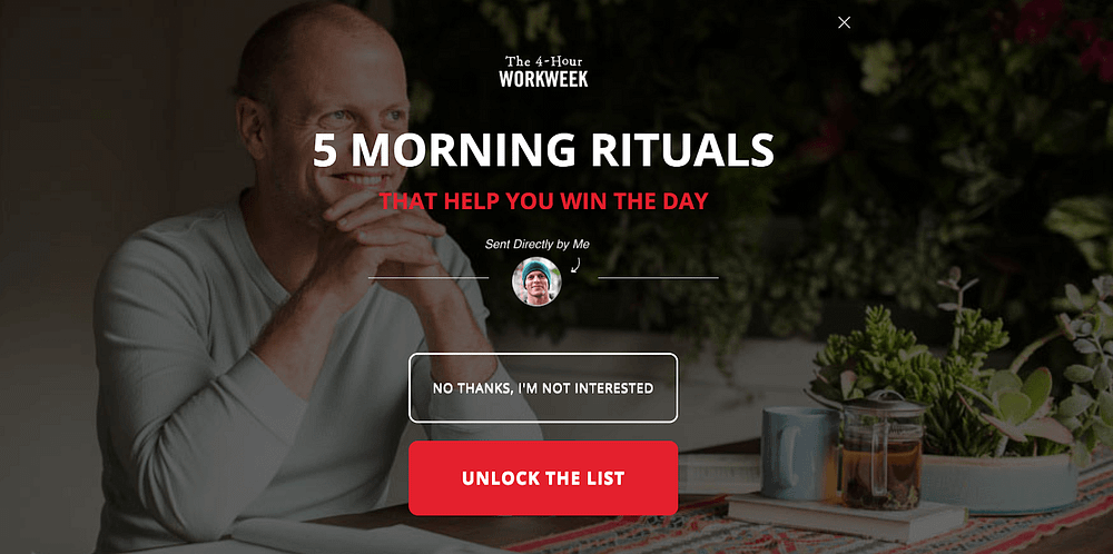 exit-intent call-to-action examples Tim Ferriss