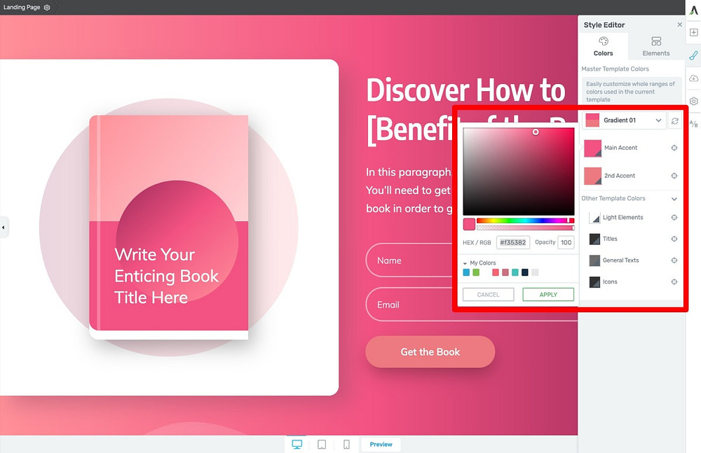 Manually Add Your Brand Colors on Thrive Architect Smart Landing Page Templates