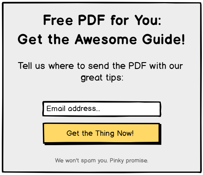 Opt-in form example with an offer for a free PDF