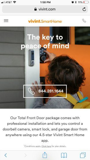 Vivint homepage good example