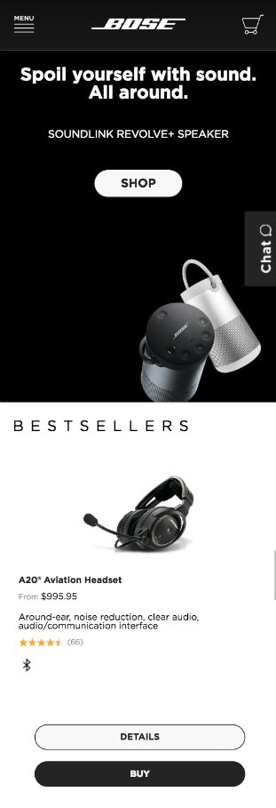 bose mobile homepage good example