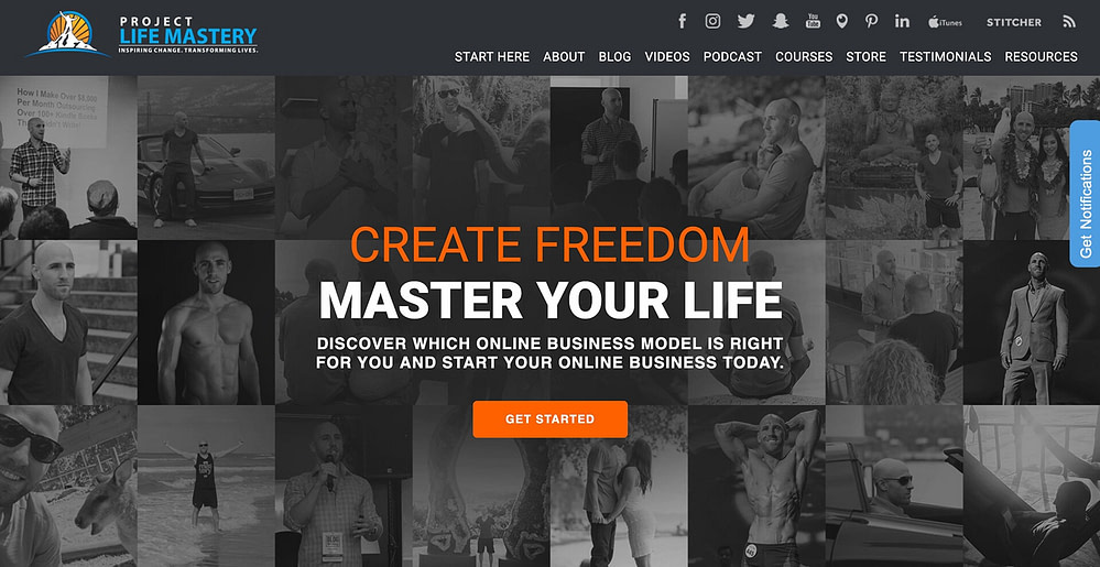 """Stefan James's """"Project Life Mastery"""" homepage quiz"""
