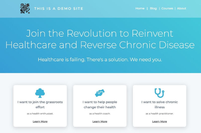 """Modified version of the Thrive Themes """"No Photoshop Homepage"""" template from our Thrive Architect landing page template options to demo Chris Kresser's new homepage design and lead segmentation strategy"""