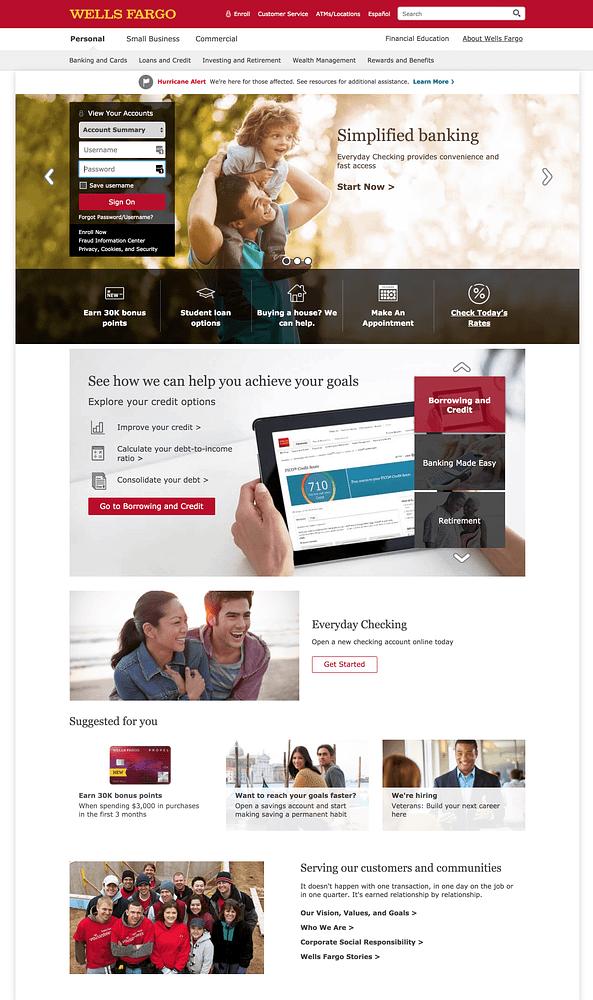 Wells Fargo Homepage Color Scheme