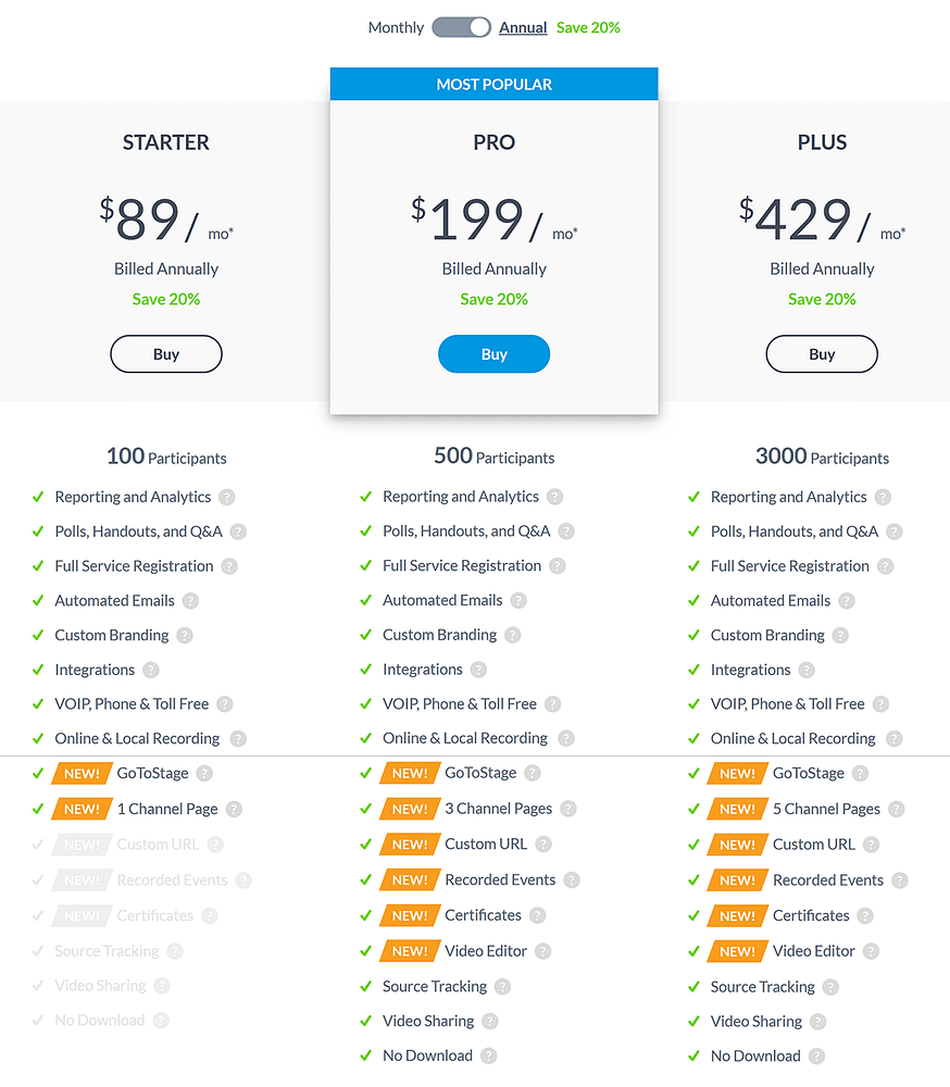 GoToWebinar pricing table