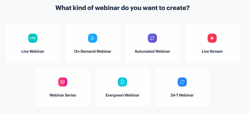 Available webinar types in BigMarker, including live webinars, livestreams, automated webinars and evergreen webinars