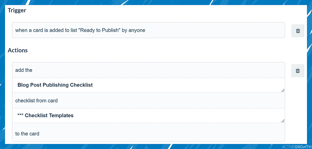Add a standardized checklist to any card that enters a specific list