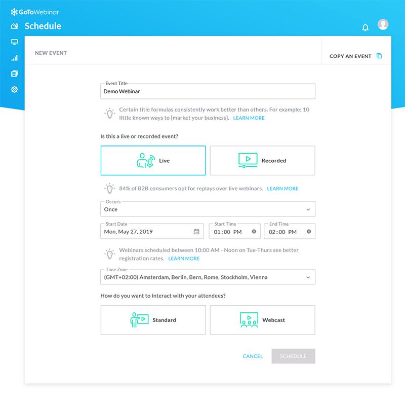 GoToWebinar dashboard - creating a new event